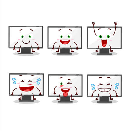 Illustration pour Cartoon character of monitor with smile expression - image libre de droit