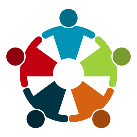 Illustration pour Group of five people in a circle.Teamwork meeting.people are meeting in the room.Powerful combined forces. - image libre de droit
