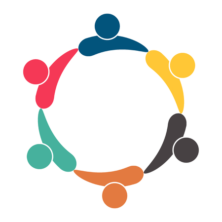 Illustration for Meeting teamwork room people logo. Group of six persons in circle. Vector illustration - Royalty Free Image