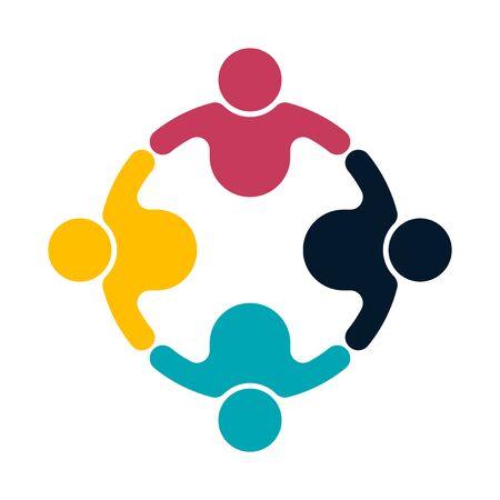 Illustration pour Group people logo handshake in a circle, teamwork icon, vector illustrator - image libre de droit