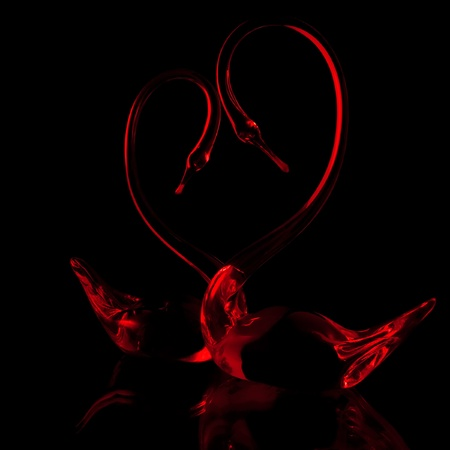 a couple of red glass swans on the black background