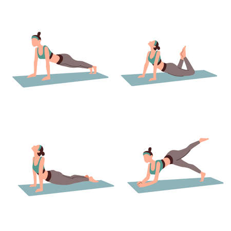 Set of young woman doing yoga isolated white background flat vector illustration. Yoga at home for healthy life.