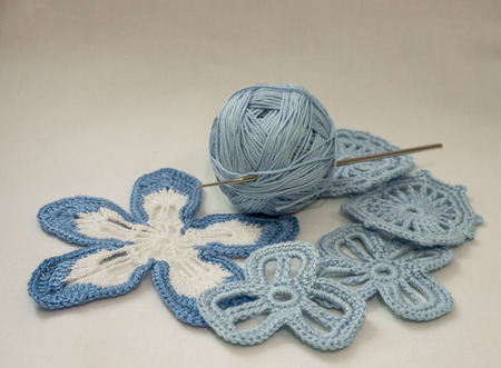 Blue cotton yarn and elements of Irish lace handmade