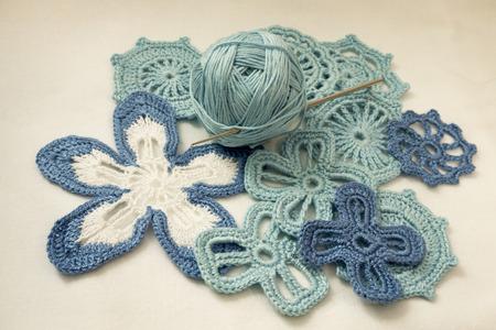 Cotton yarns and Irish lace knit crochet