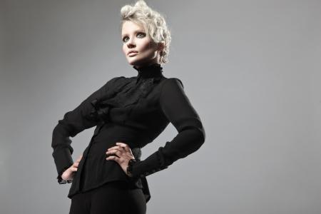 Lady in black posing