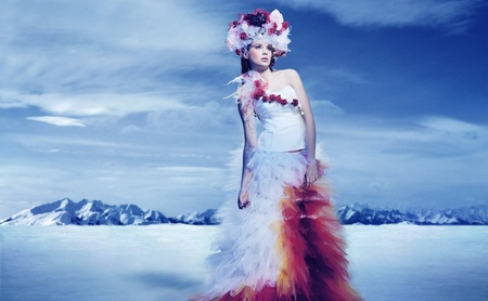 Photo for The bride in snow mountains - Royalty Free Image