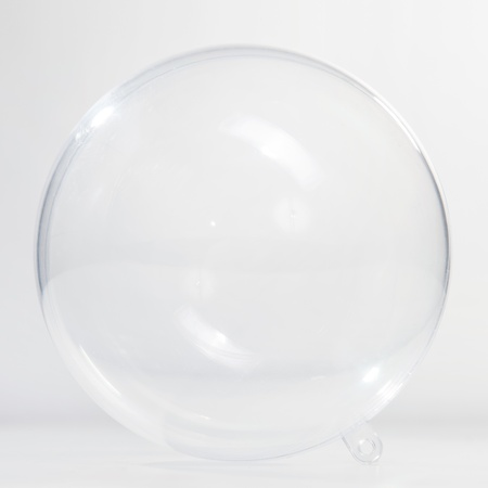 Empty glass ball on the white background