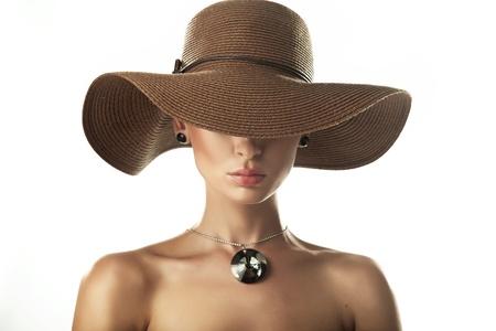 Foto de Portrait of a beauty woman wearing hat - Imagen libre de derechos