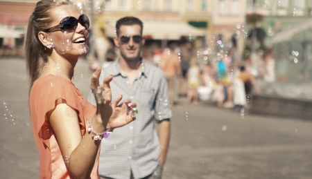 Couple having great time