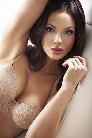 Foto de Clean skin beautiful  lady wearing sensual bra - Imagen libre de derechos