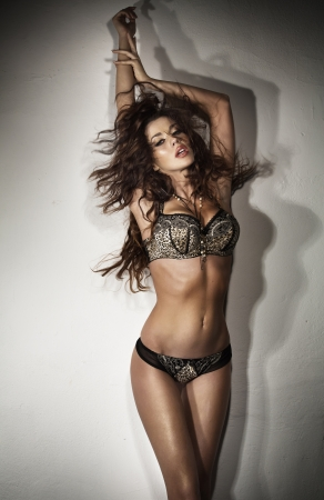 Sensual brunette young lady and sexy lingerie
