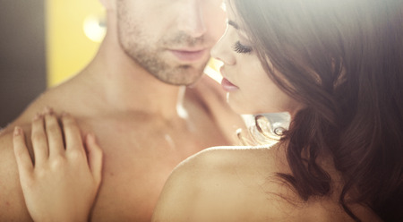 Photo pour Young alluring lovers during the honeymoon - image libre de droit