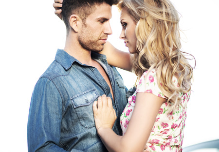 Foto de Romantic scene of the kissing marriage couple - Imagen libre de derechos