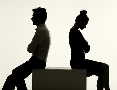 Photo pour Sad couple having the serious argument - image libre de droit
