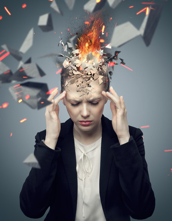 Photo for Smart businesswoman with exploding headache - Royalty Free Image