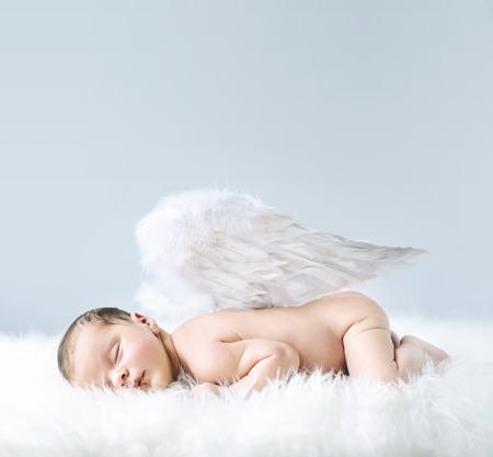 Photo pour Newborn baby as an cute angel - image libre de droit
