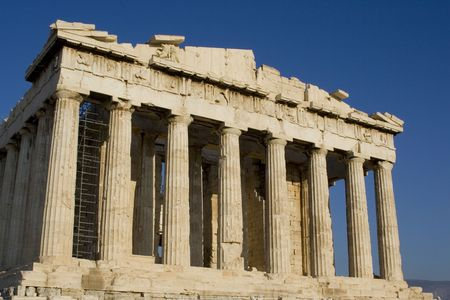 marble columns  of athens parthenon greece