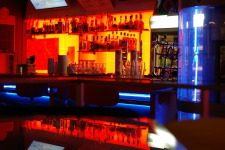 A stylish night bar with contemporary decor