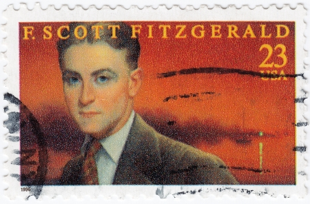USA - CIRCA 1996   stamp printed in USA show shows F  Scott Fitzgerald American author of novels and short stories, circa 1996