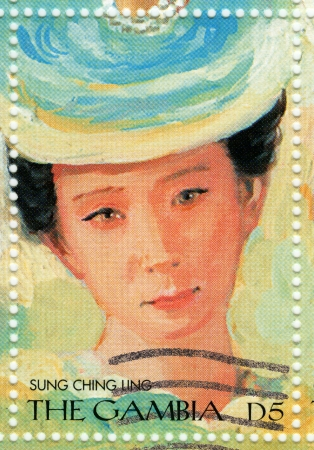 GAMBIA - CIRCA 2000 : stamp printed in Gambia with portrait of Soong Ching-ling, known as Madame Sun Yat-sen most significant political figures of the early 20th century, circa 2000