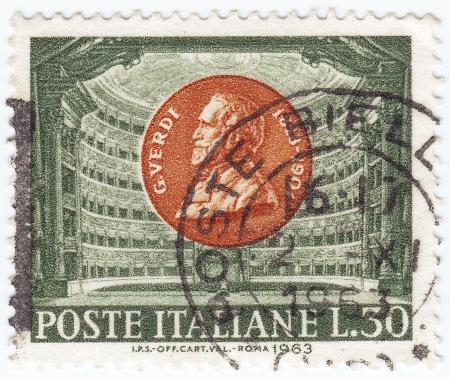 ITALY - CIRCA 1963 : stamp printed in Italy shows Giuseppe Verdi, circa 1963
