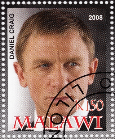 MALAWI - CIRCA 2008  stamp printed in Malawi with Daniel Craig - English actor and film producer,sixth actor to portray the fictional secret agent James Bond, circa 2008