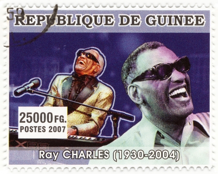 REPUBLICA GUINEA - CIRCA 2007 : Ray Charles - famous american singer and jazz-man