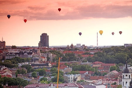 The main view of Vilnius Old town from its hills with air balloons, Lithuania