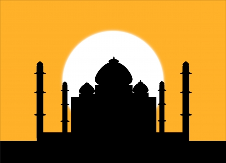The silhouette Taj Mahal on an sunset background
