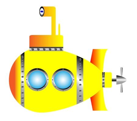 Yellow submarine on white background - vector illustration.
