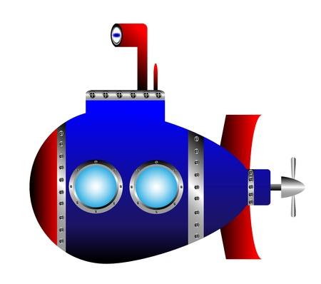 Blue submarine on white background - vector illustration.