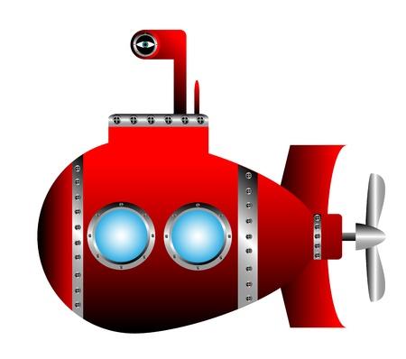 Red submarine on white background - vector illustration.