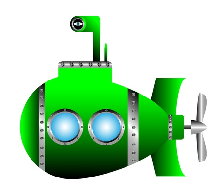 Green submarine on white background - vector illustration.