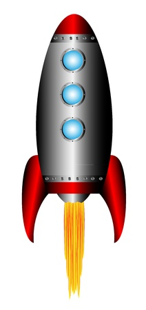 Starting rocket on white background - vector illustration.