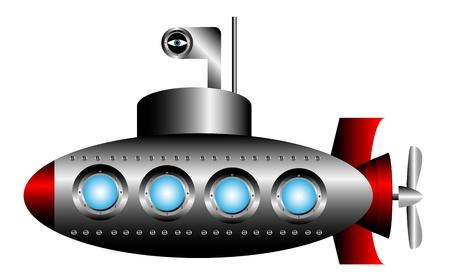 Submarine on white background - vector illustration.