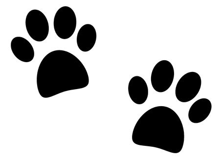 Black paw print on white background - vector