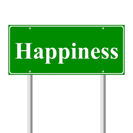 Happiness, concept  green road sign isolated on white background