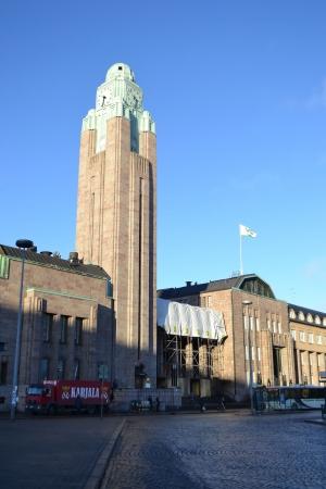 Helsinki, Finland - November 19, 2012: View of Railway station in Helsinki.