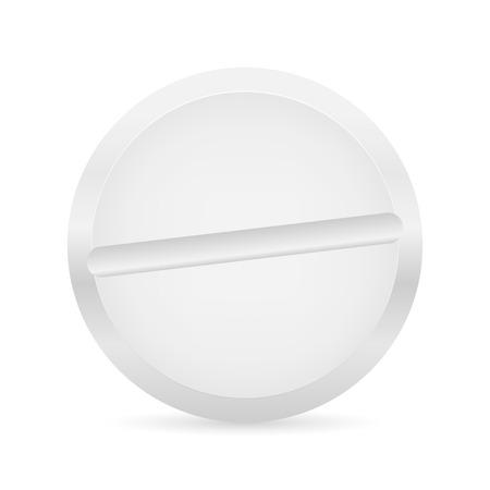 White pill on white background. Vector illustration.