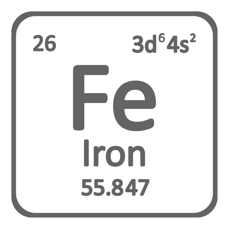 Periodic table element iron icon on white background. Vector illustration.