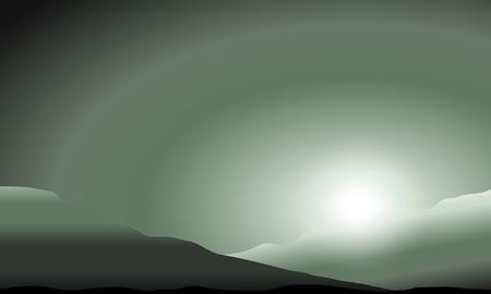 Illustration pour Martian sunset in the hills. Vector illustration. - image libre de droit