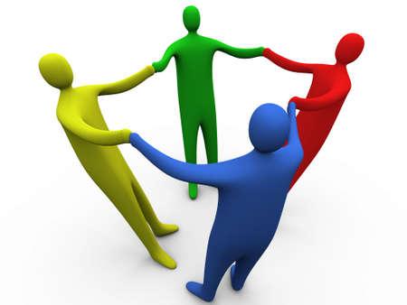 Photo pour 3d people holding hands #3. - image libre de droit