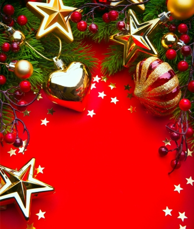 Design a Christmas greeting card with Christmas Decorations on a red background