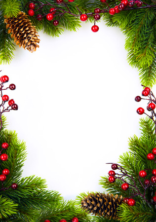 christmas frame with fir and Holly berry on white paper background