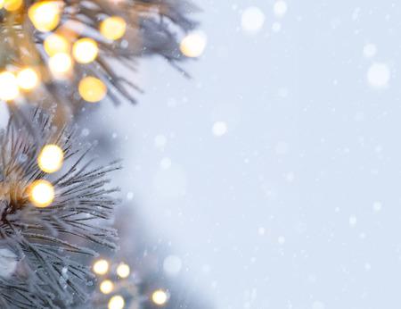 snowy christmas tree light