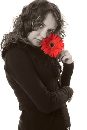sepia beautiful woman with red flower