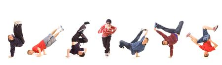 seven b-boys isolated on white