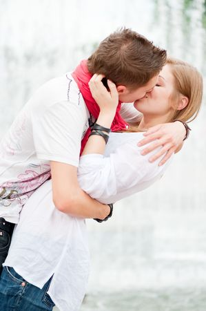 beautiful picture of kissing couple at outdoor
