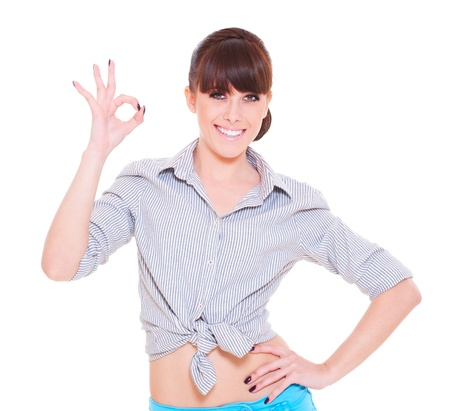 Photo pour smiley woman showing the ok sign isolated over white background  - image libre de droit