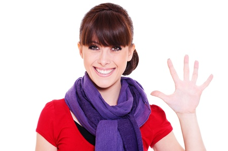smiley young woman showing number five. isolated on white background